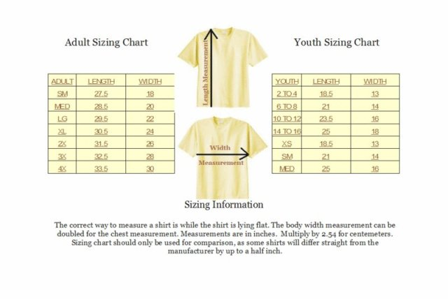 Shirt size guide for Adult medium t shirt