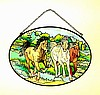 Stained Glass Horse Suncatcher Medium Oval On the Move