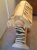 Rustic Pine Saddle Stand - Wood Burned Zebra Stripes - Clear Lacquer Finished