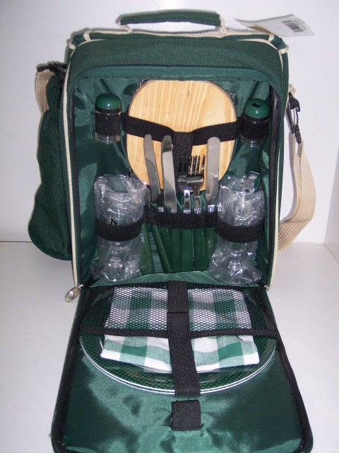 Picnic Set Tote with Strap and Insulated Cooler, Complete Set for 2