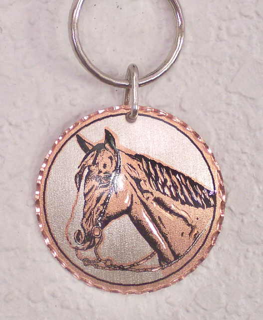 Solid Copper Key Ring Keychain Horse Head