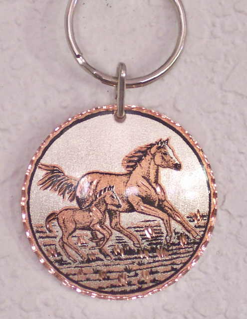 Solid Copper Key Ring Keychain Horse Mare and Foal
