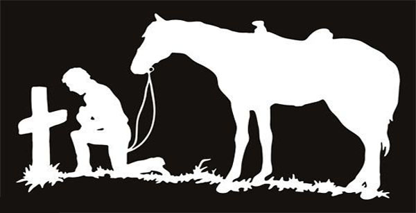 Praying Cowboy with Cross and Horse Christian Window Sticker Decal - White