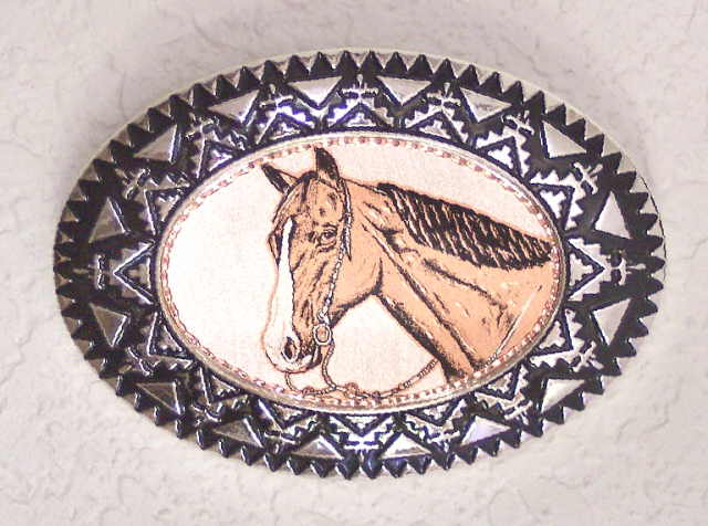 Copper and Pewter Belt Buckle Horse Head