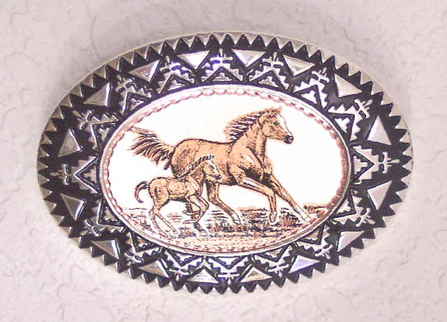 Copper and Pewter Belt Buckle Mare and Foal Horse