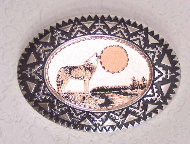 Copper and Pewter Belt Buckle Howling Wolf
