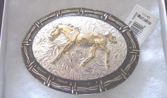 Sterling Silver and Bronze Running Horse Belt Buckle CRUMRINE