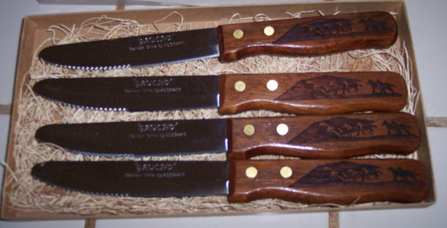 4 Pcs. Steak Knives Engraved Wood Handles Calf Roper