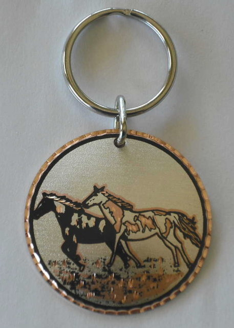 Solid Copper Key Ring Keychain Running Horses