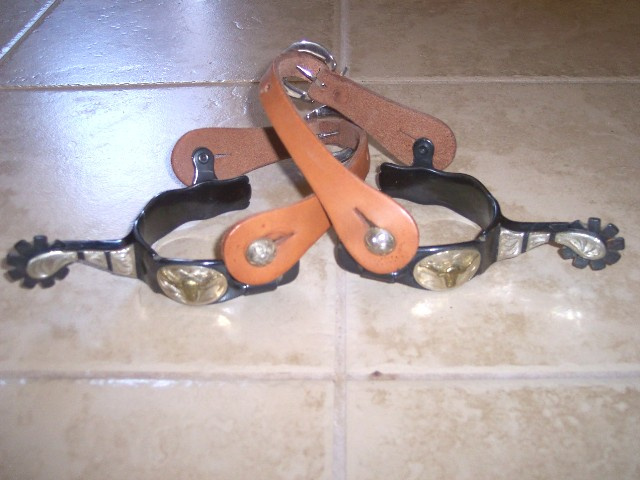 Western Burnished Bronze 9 Point Rowel Spurs with Longhorn Steer Heads and Straps