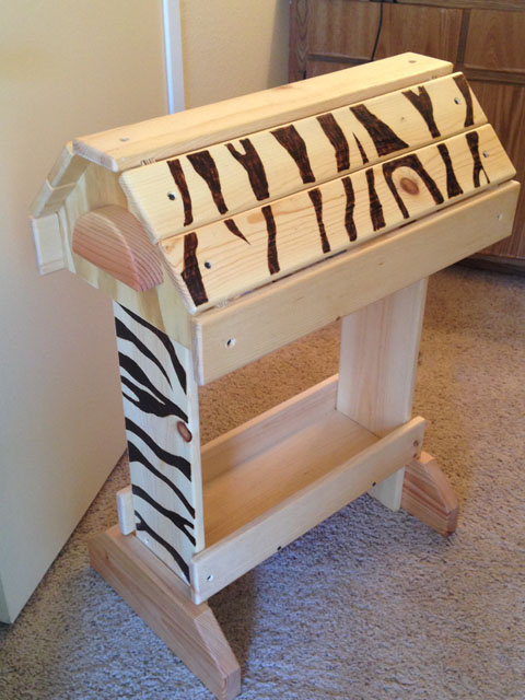 Rustic Pine Saddle Stand - Wood Burned Zebra Stripes - Unfinished
