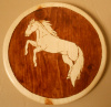 "Solid Pine Wood Burned Wall Plaque with Rearing Horse Stained American Chestnut 10 1/2"" diameter"