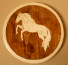 "Solid Pine Wood Burned Wall Plaque with Rearing Horse Stained in Mission Oak 10 1/2"" diameter"