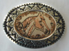 Copper and Pewter Belt Buckle Floral Horse Head