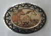 Copper and Pewter Belt Buckle Running Horses
