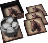 Horse Head Resin 4 Inch Square Coasters with Holder