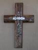 Firwood Christian Cross with Believe Emblem and Floral Embellishment Wall Hanging - 14""