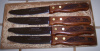 Western Steak Knives Wood Handled Running Horses Set of 4 Gift Boxed