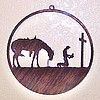 Window Wall Hanging - Laser Cut Steel Praying Cowboy and Horse A Higher Power