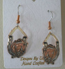 Copper and Silver Plted Leaping Horse in Horseshoe Earrings