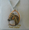 Copper and Silver Plated Cut Out Diamond Cut Horse Head Necklace